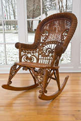 Antique Victorian Wicker Rocker image 10