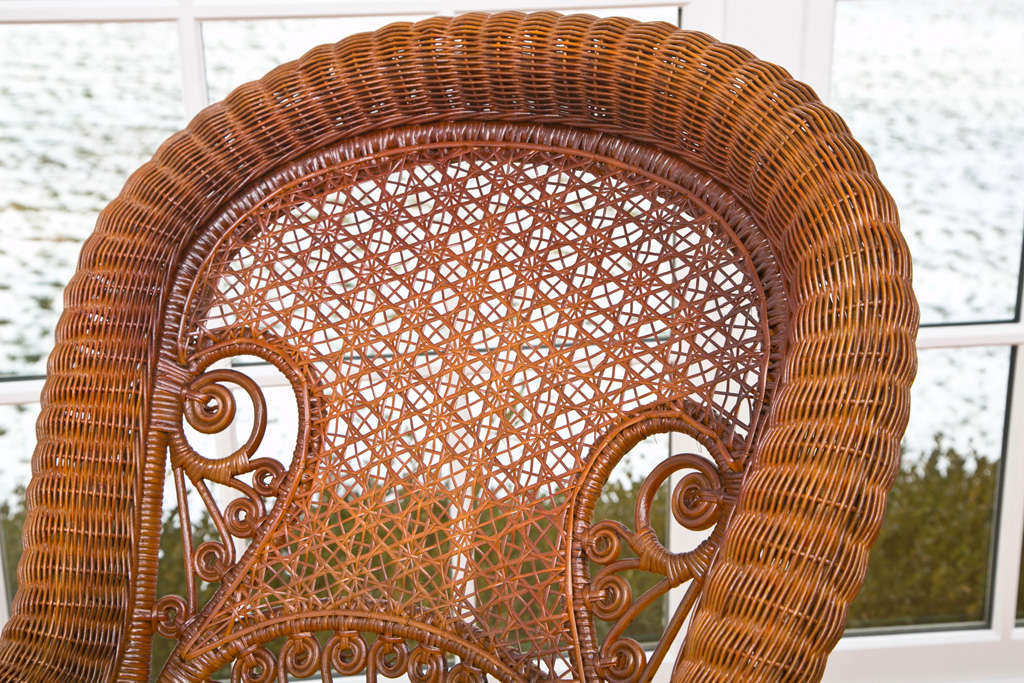 American Antique Victorian Wicker Rocker For Sale