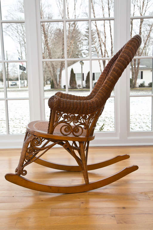 Reed Antique Victorian Wicker Rocker For Sale