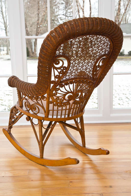 Antique Victorian Wicker Rocker For Sale 2