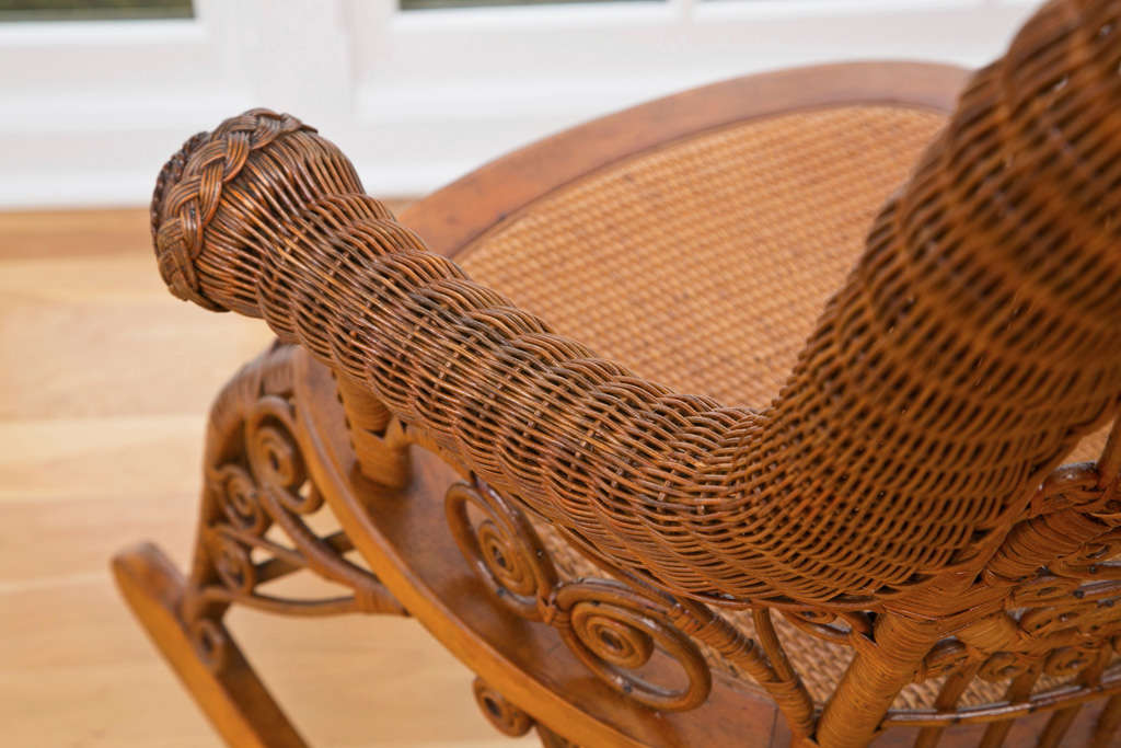 Antique Victorian Wicker Rocker For Sale 3