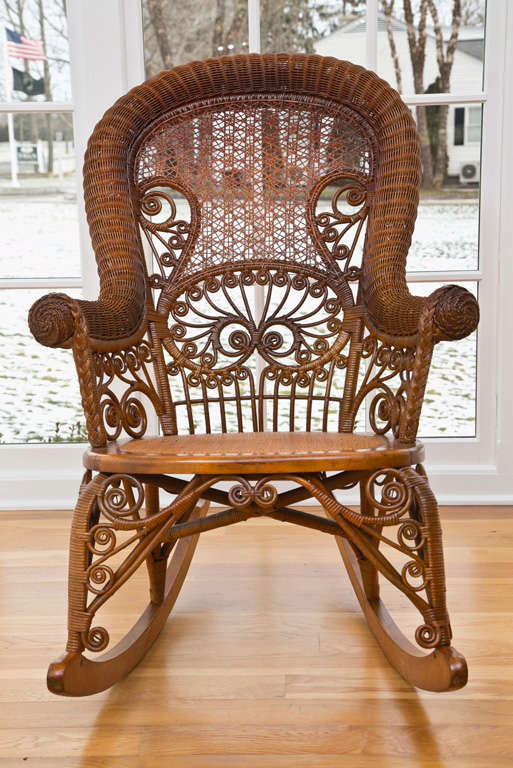 antique wicker rocking chair Antique Victorian Wicker Rocker at 1stdibs antique wicker rocking chair