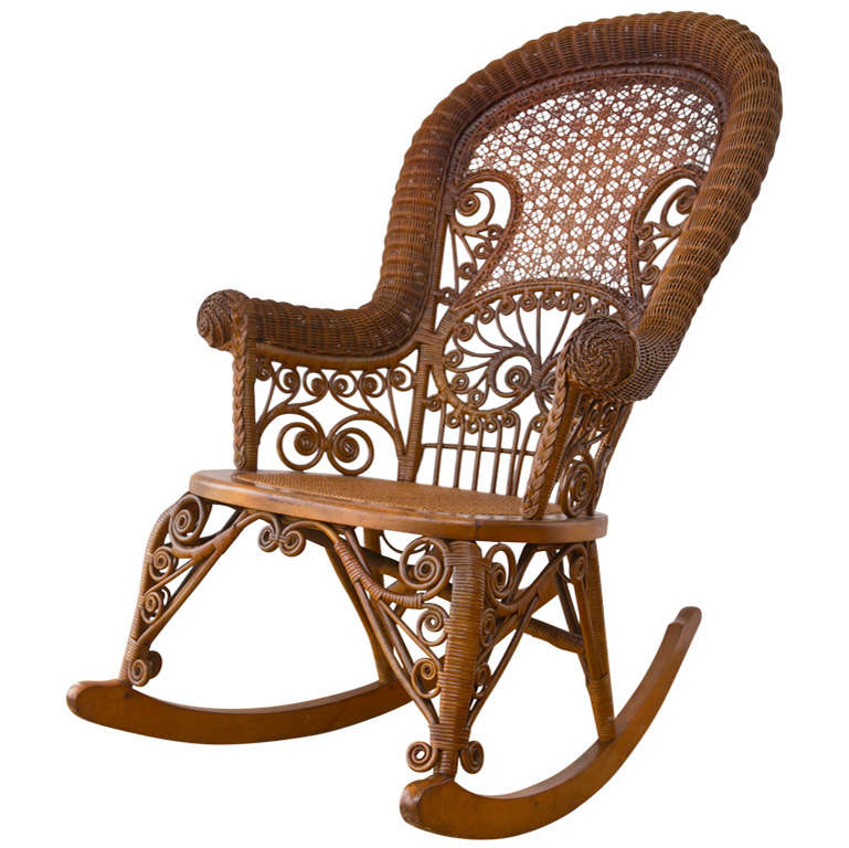 antique victorian wicker rocker at 1stdibs. Black Bedroom Furniture Sets. Home Design Ideas