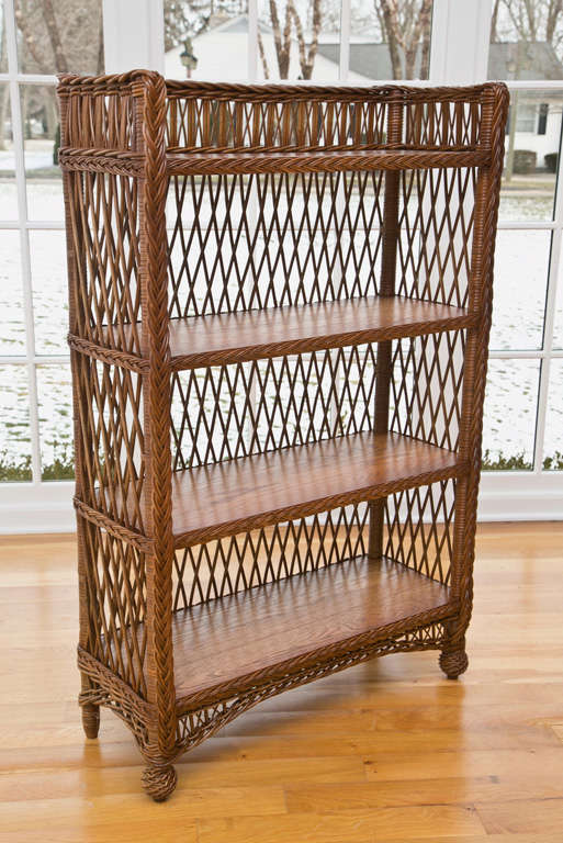 Custom Built Wicker Bookcase In Bar Harbor Pattern With Solid Oak Shelves And Beautifully Woven Feet