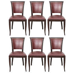 Set of Six French, 1940s Dining Chairs