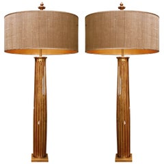 Pair of French Gold Gilded Column Lamps