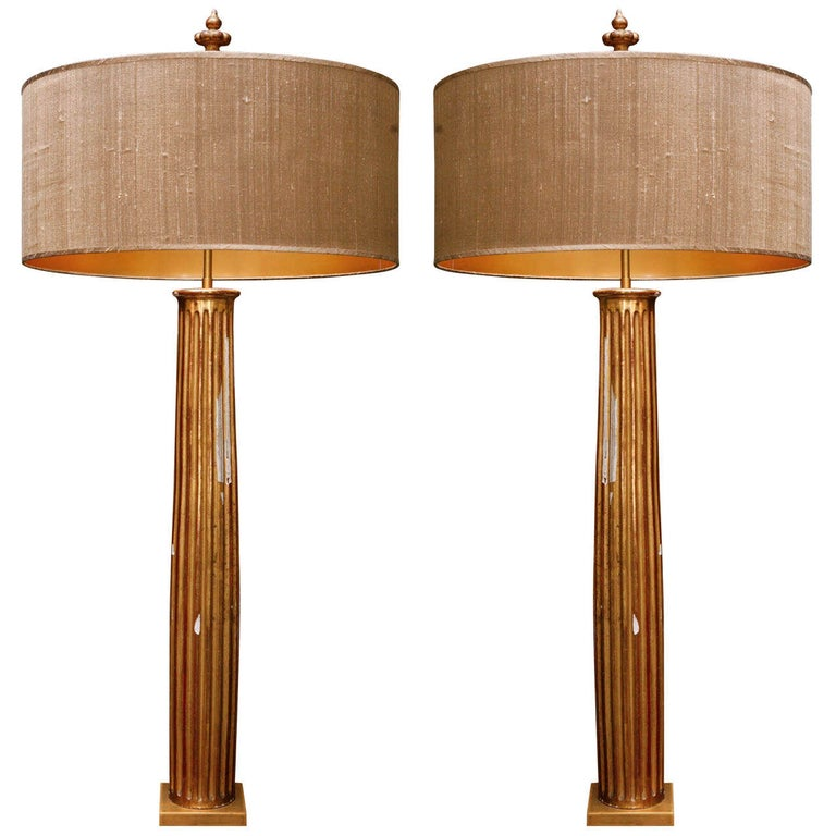 Pair of French Gold Gilded Column Lamps For Sale