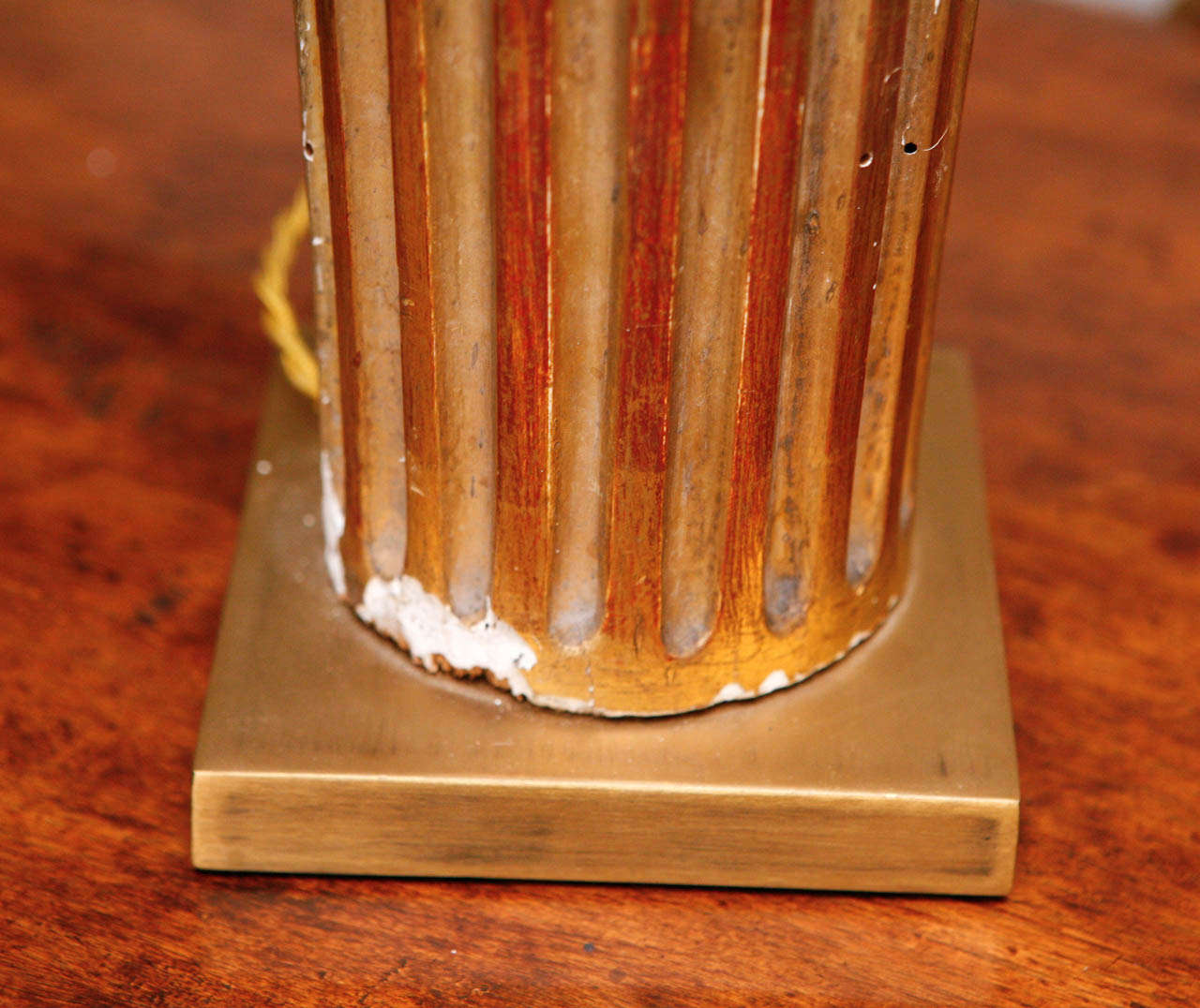 Pair of French Gold Gilded Column Lamps For Sale 3