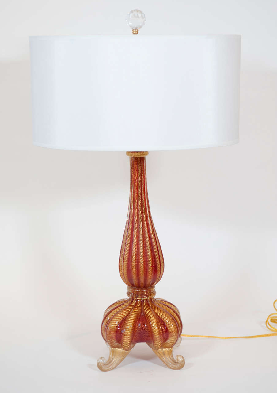 Pair Of Barovier Red And Gold Lamps At 1stdibs
