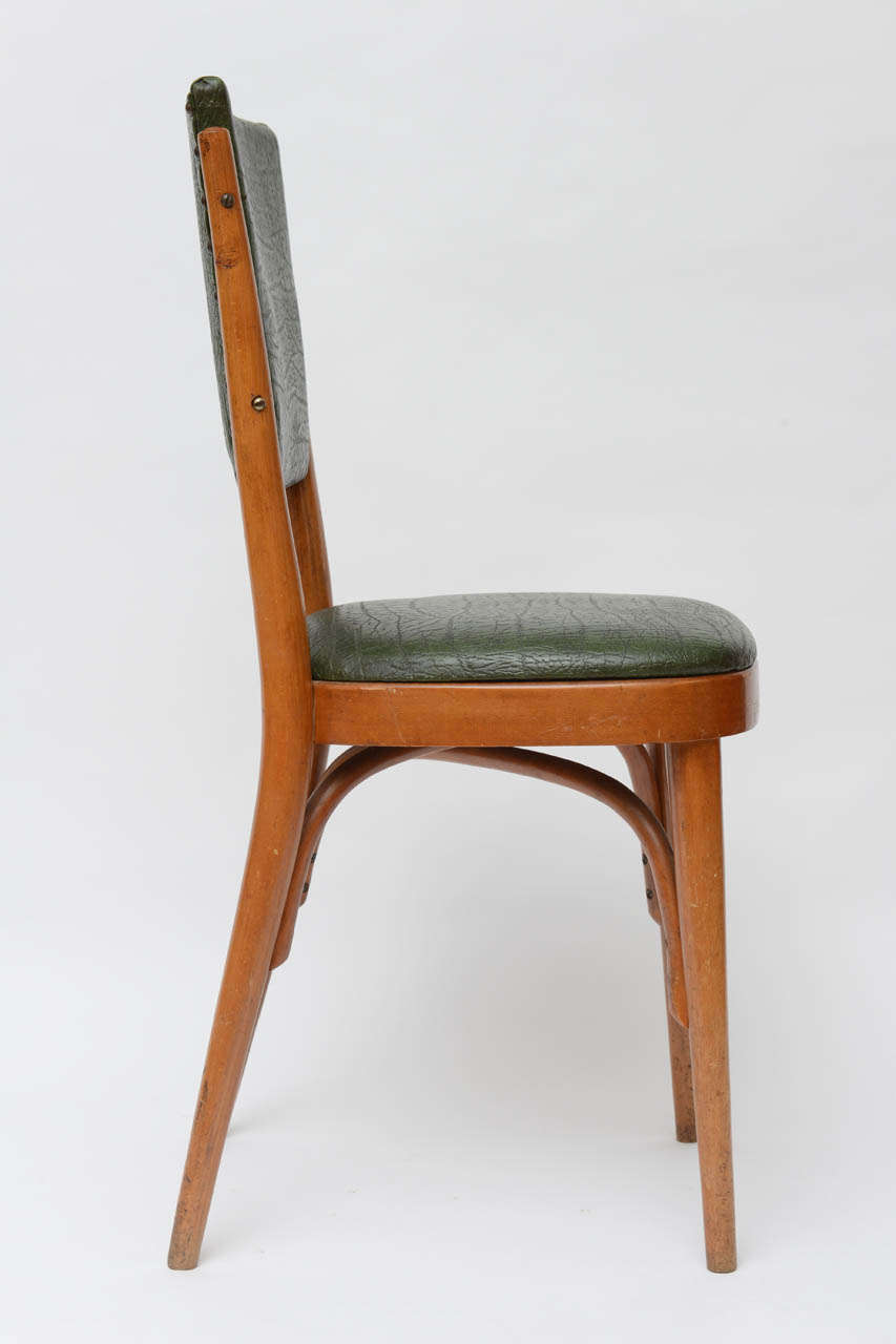 Wood Set of Ten Italian Dining / Bistro Chairs For Sale