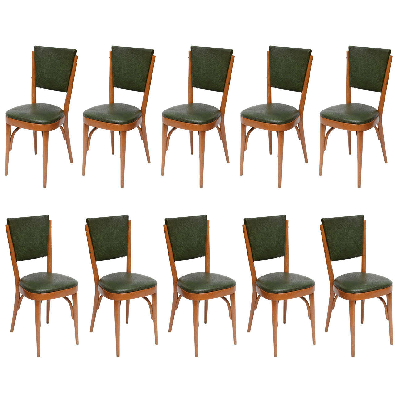 Set of Ten Italian Dining / Bistro Chairs For Sale