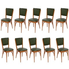 Modernist Set of Ten Italian Dining / Bistro Chairs Italy