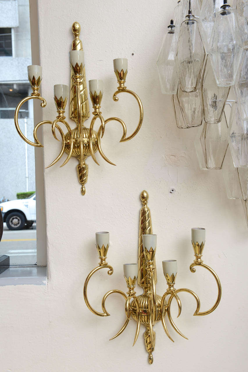 Pair of Italian Brass Sconces For Sale 3