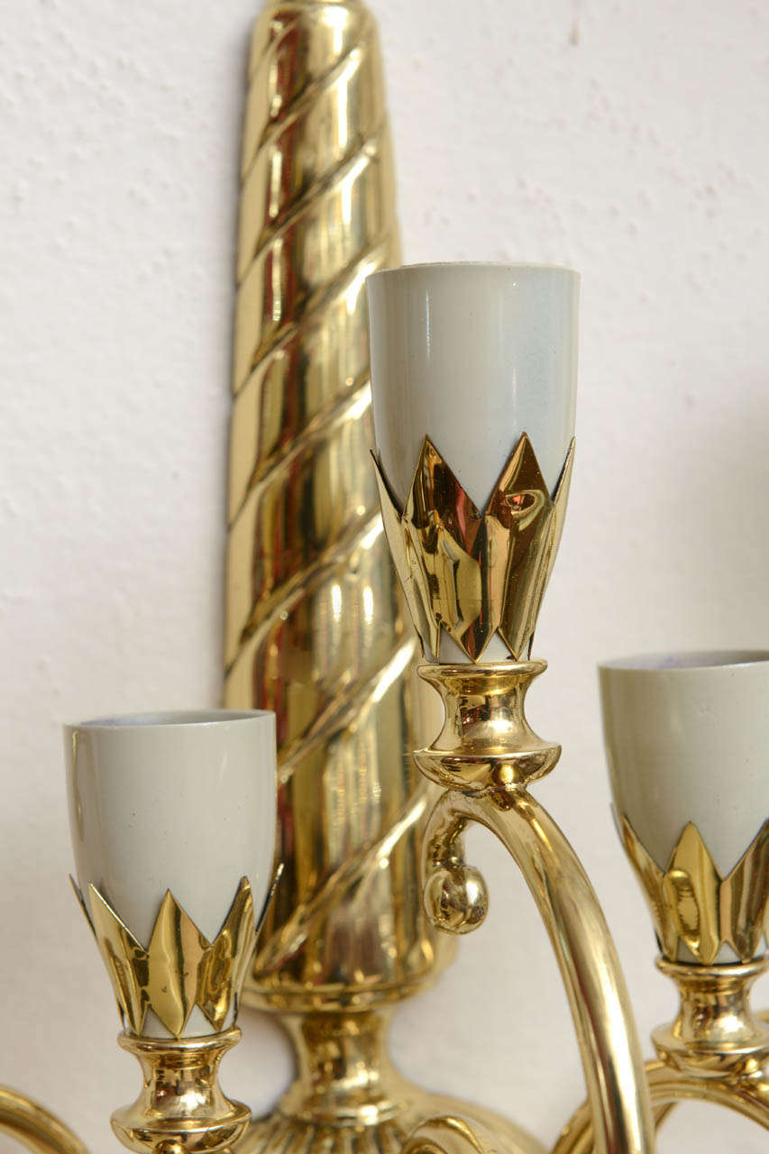 Pair of Italian Brass Sconces For Sale 5