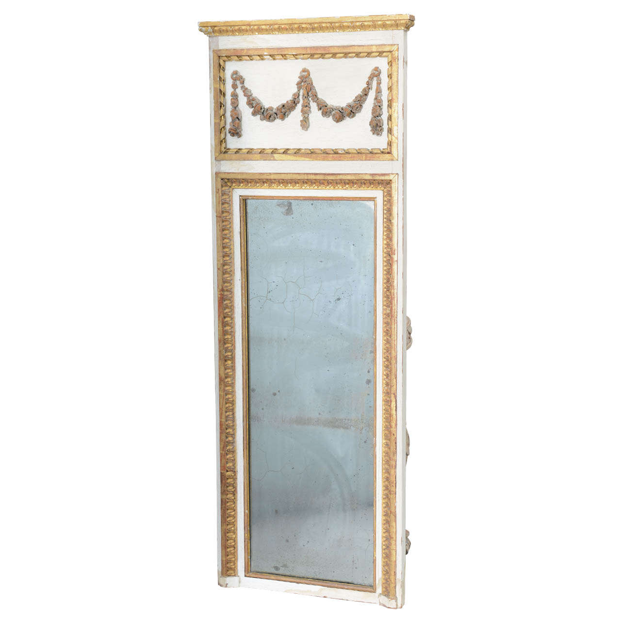 Narrow 19c. Painted and Parcel Gilt French Trumeau Mirror