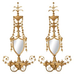Pair Of 19th C. Giltwood Mirrored Sconces