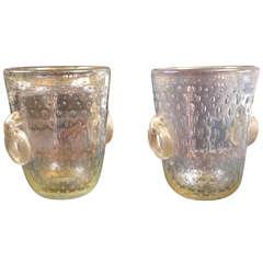 Fine pair of gold blown Murano vases