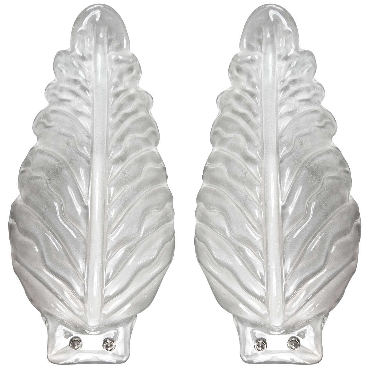 Pair Of Large Murano Blown Leaf Sconces