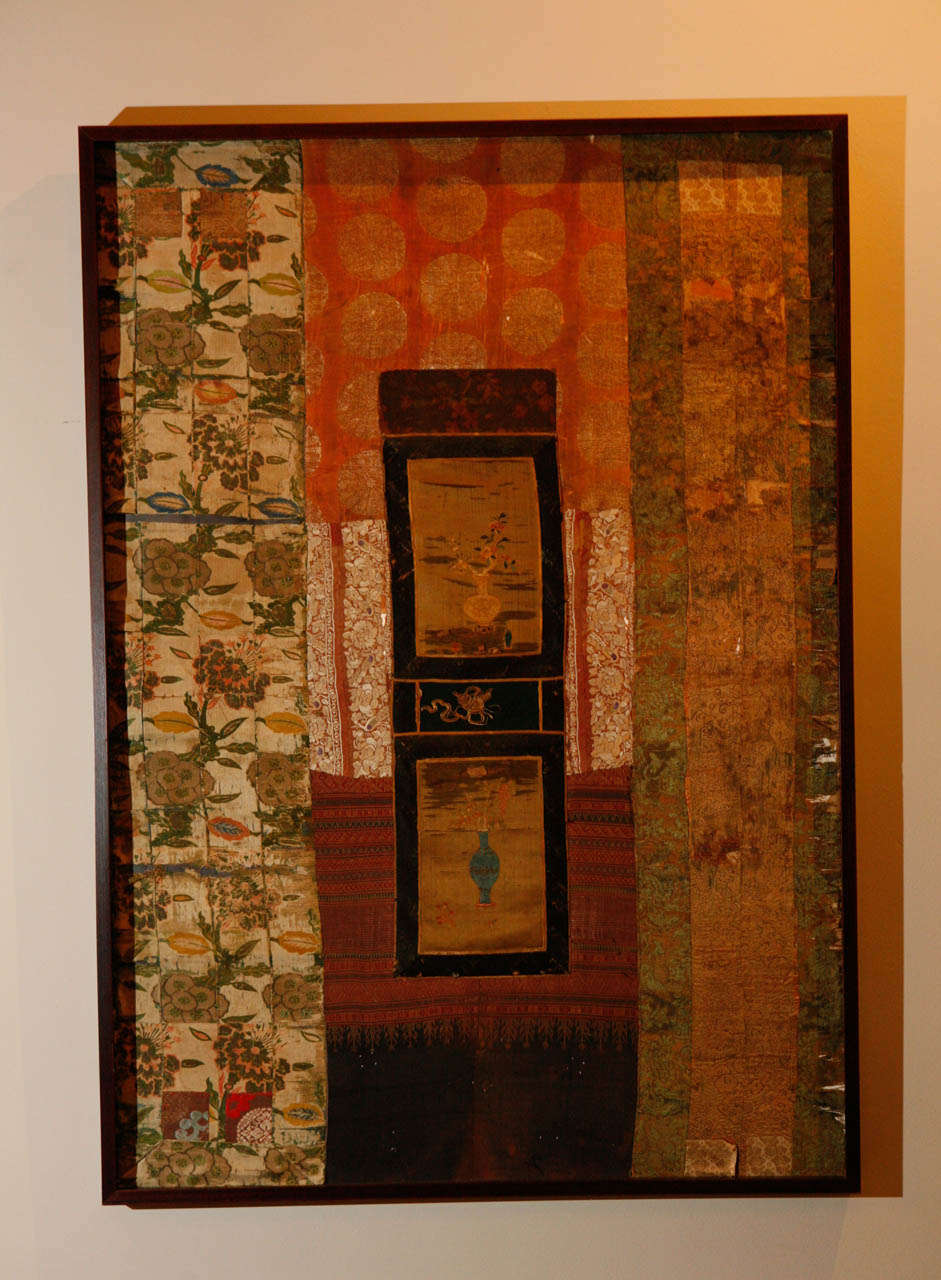 Collage of antique Chinese fabrics, newly framed. Visit the Paul Marra storefront to see more furnishings and lighting including 21st Century.