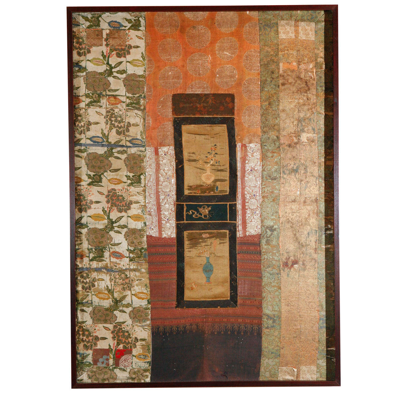Large Framed Collage of Antique Chinese Fabrics For Sale
