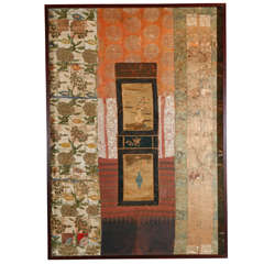 Large Framed Collage of Antique Chinese Fabrics