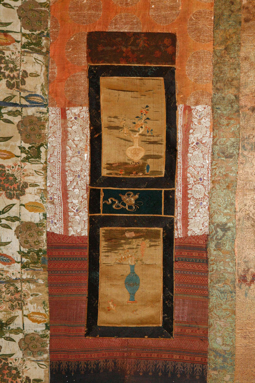 Large Framed Collage of Antique Chinese Fabrics In Excellent Condition For Sale In Los Angeles, CA