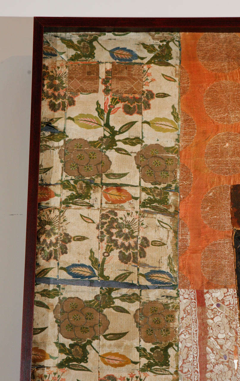 20th Century Large Framed Collage of Antique Chinese Fabrics For Sale