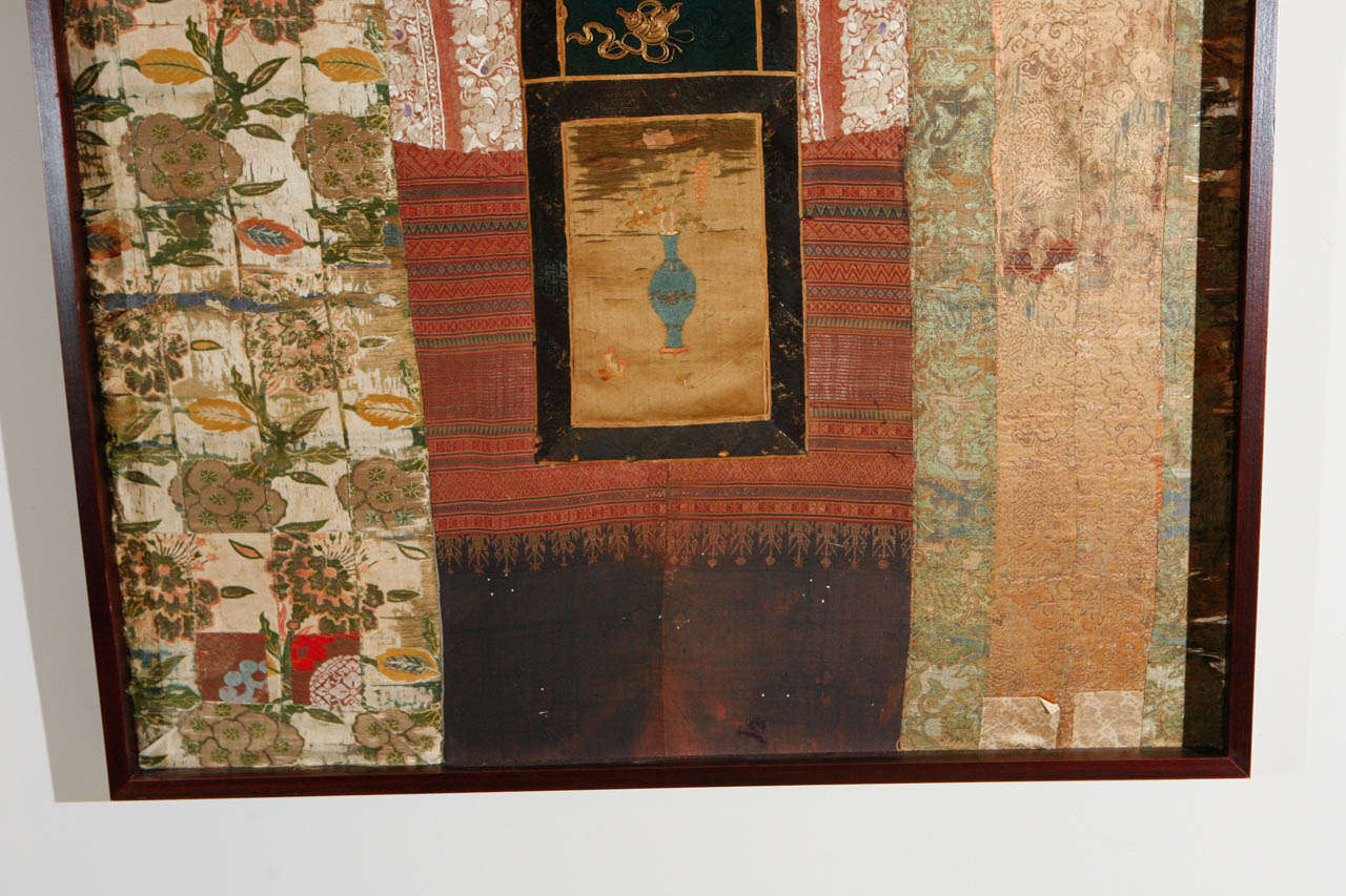 Large Framed Collage of Antique Chinese Fabrics For Sale 1