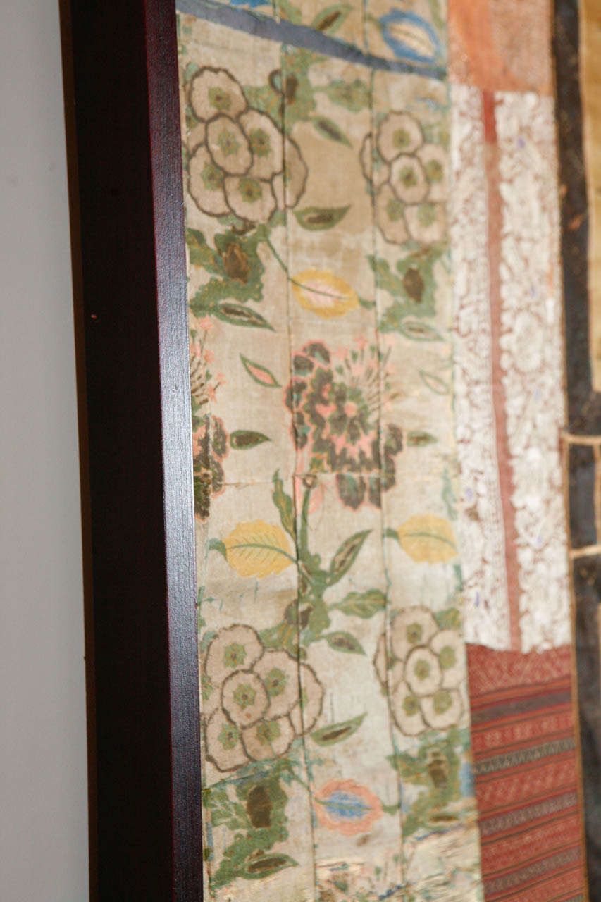 Large Framed Collage of Antique Chinese Fabrics For Sale 2
