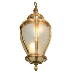 Exquisite and Massive Gilt Bronze and Frosted Glass Lantern by E. F. Caldwell