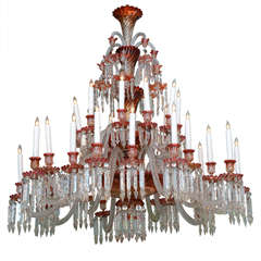 Massive And Rare Red And Clear Baccarat Multi Tiered