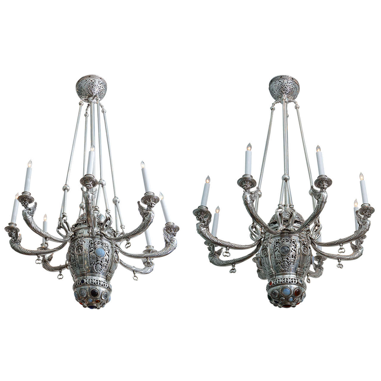 Silver bronze neo gothic moorish chandeliers attributed to tiffany studios at 1stdibs - Moorish chandelier ...