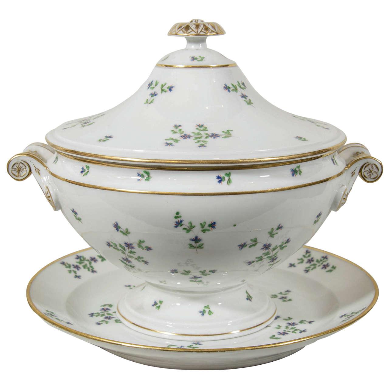 Antique Paris Porcelain Soup Tureen Cornflower Sprig