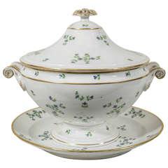 Antique Paris Porcelain Soup Tureen Cornflower Sprig Pattern