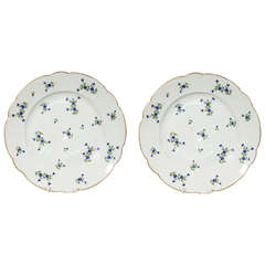 Pair Large Antique Porcelain Dishes Painted in Cornflower Sprig Pattern