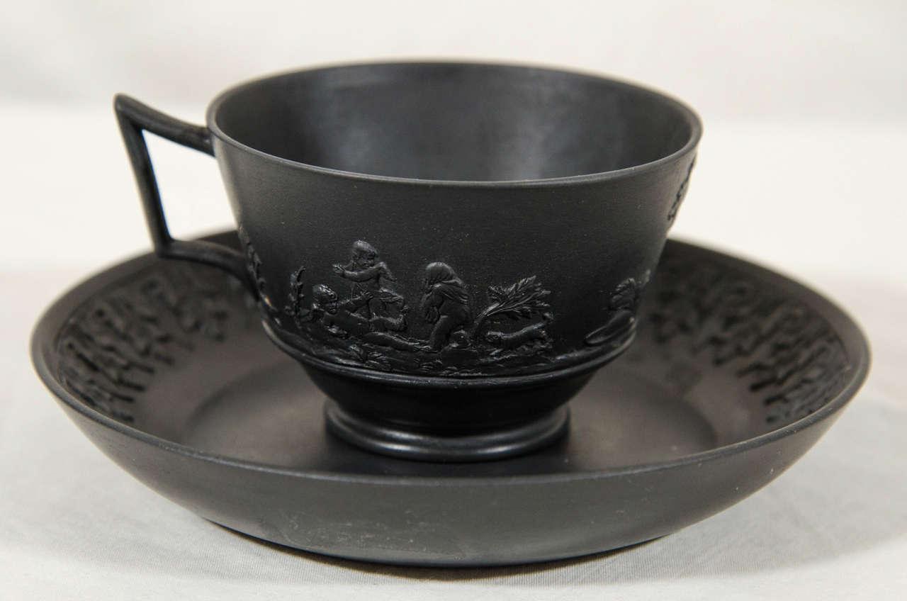 Rare Set of a Dozen Wedgwood Black Basalt Tea Cups and ...