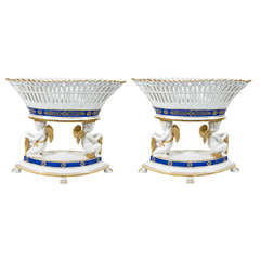 Pair of Antique French Porcelain Baskets with Bands of Cobalt Blue and Gilt
