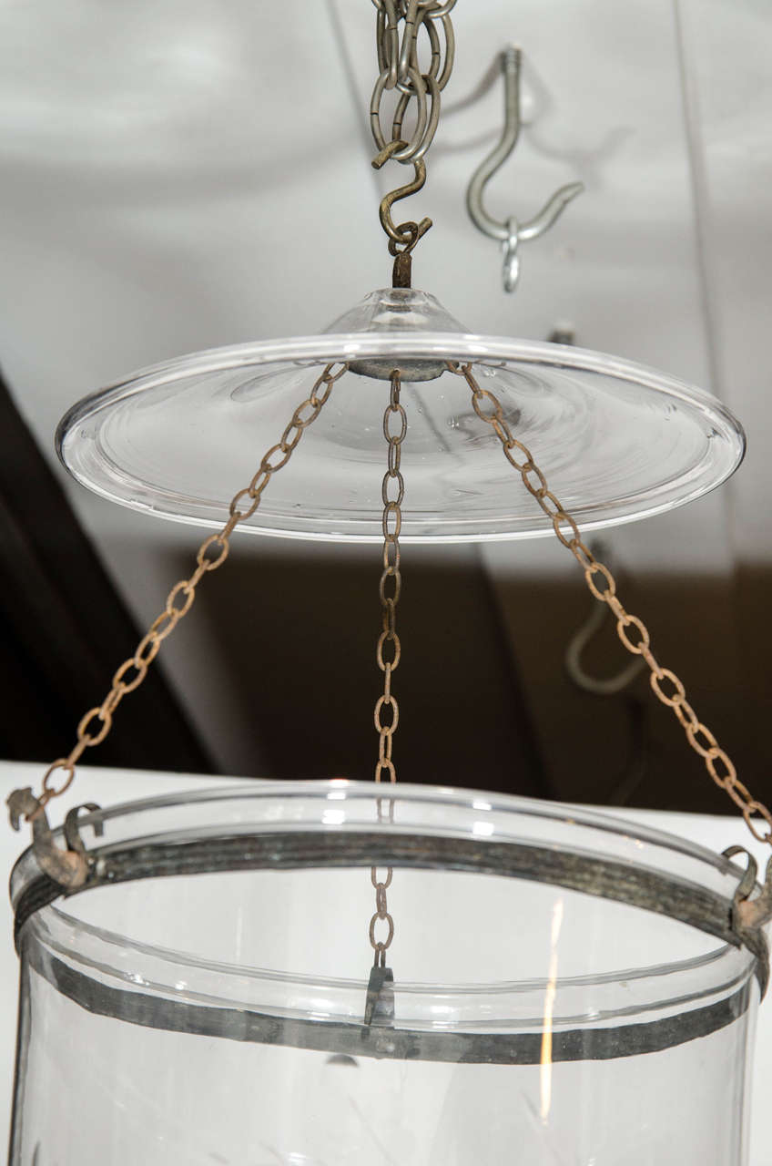 19th Century Antique English Glass Bell Lantern Made circa 1880 For Sale
