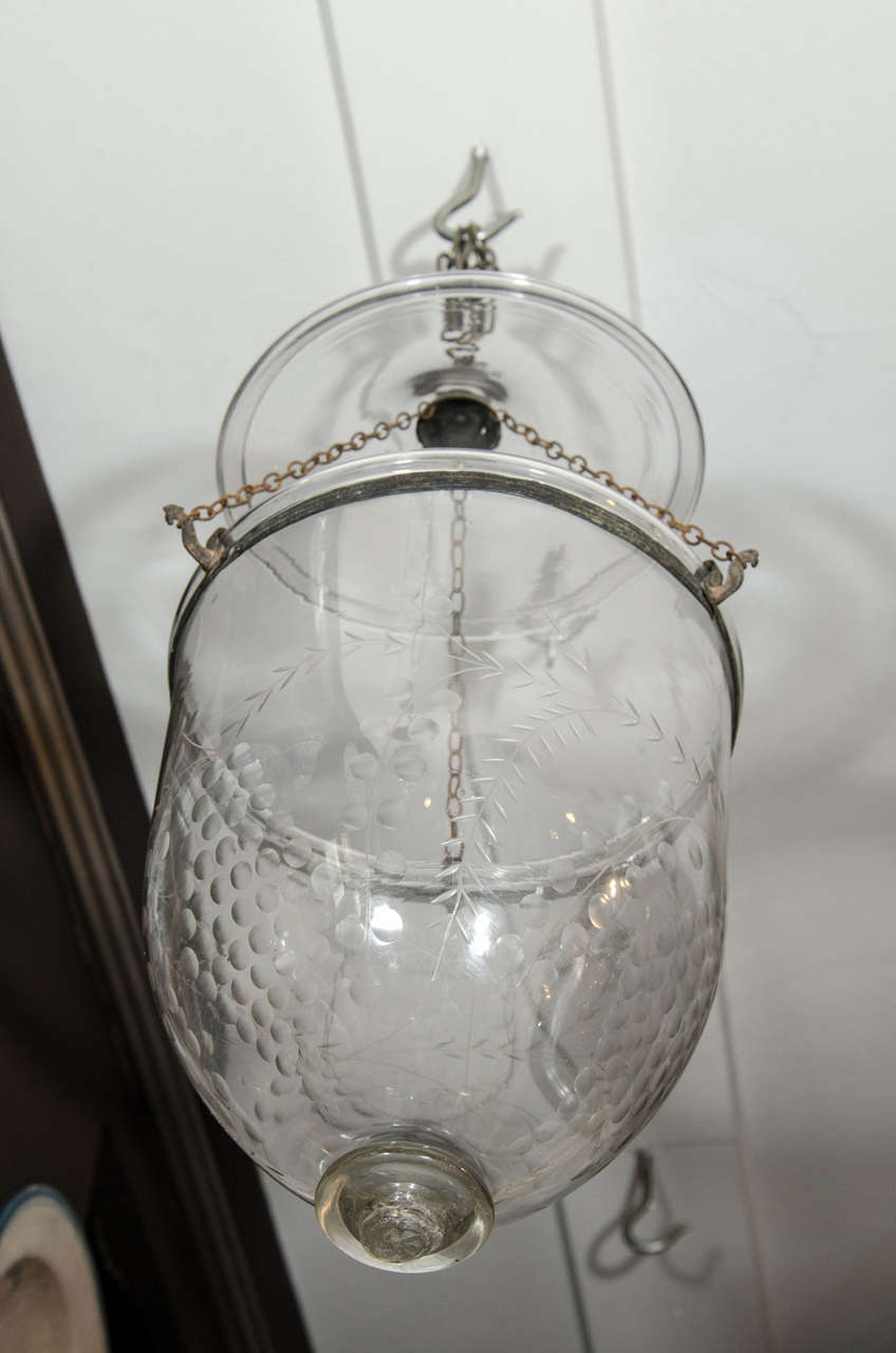 Etched Antique English Glass Bell Lantern Made circa 1880 For Sale
