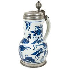 Blue and White Delft Tankard with Pewter Lid