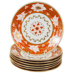 Set of a Dozen Chamberlain's Worcester Dishes with Orange Blossom Borders