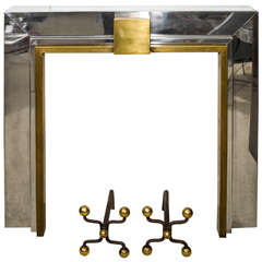 French Chrome and Brass Fireplace Mantle