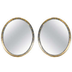 Pair of Oval American Mirrors, circa 1870