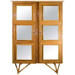 Bamboo Cabinet with Mirrored Glass Squares, France, circa 1950-1960