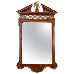 George II Mahogany Fret Panel Mirror