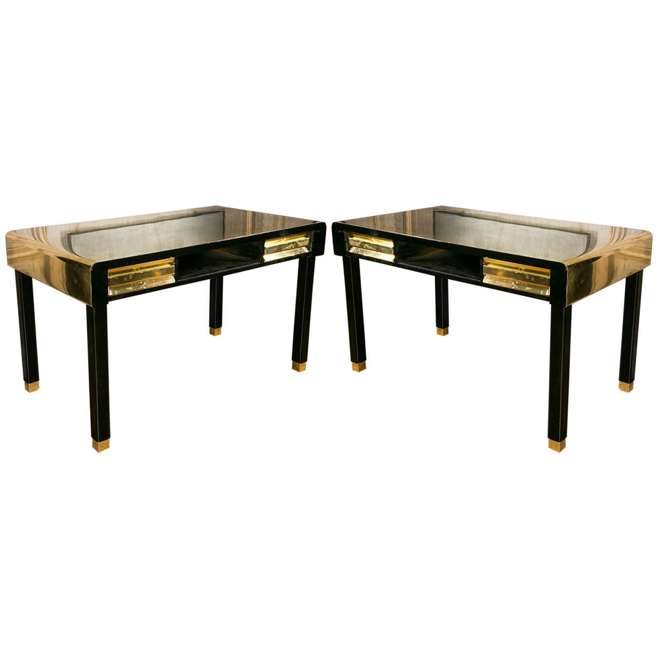 Pair Of Vintage Black And Gold Tables For Sale At 1stdibs
