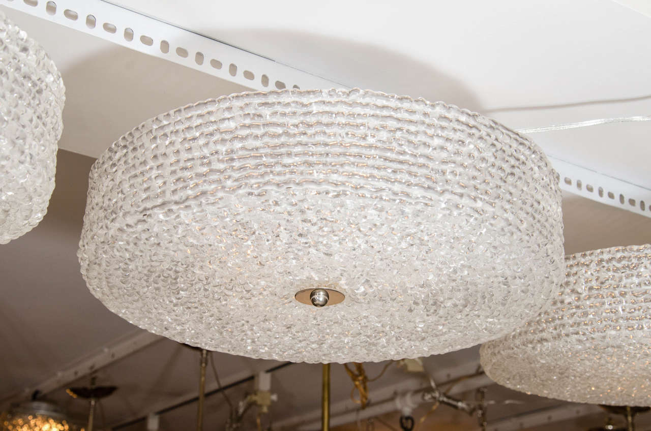 Textured Lucite ceiling fixture with chrome hardware.