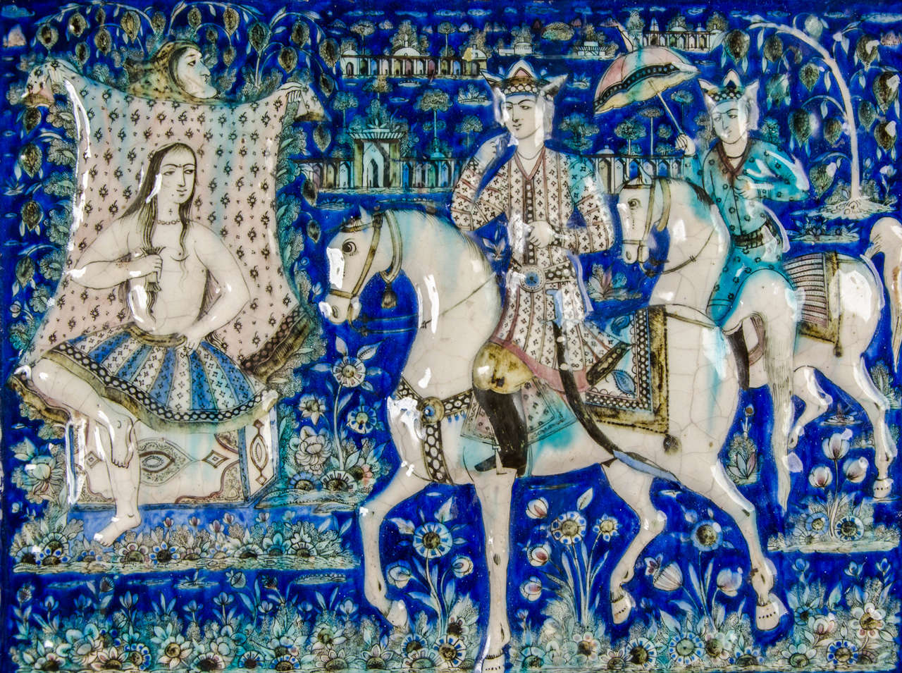 Other Large Persian Qajar Tile Picture Plaque Depicting Khusrau Visiting Shirin For Sale