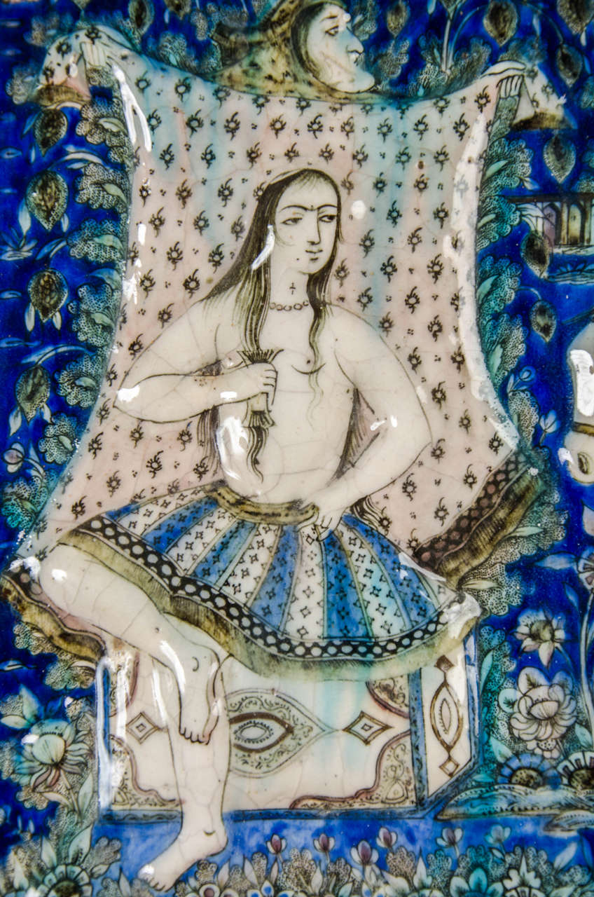 Large Persian Qajar Tile Picture Plaque Depicting Khusrau Visiting Shirin In Excellent Condition For Sale In London, GB