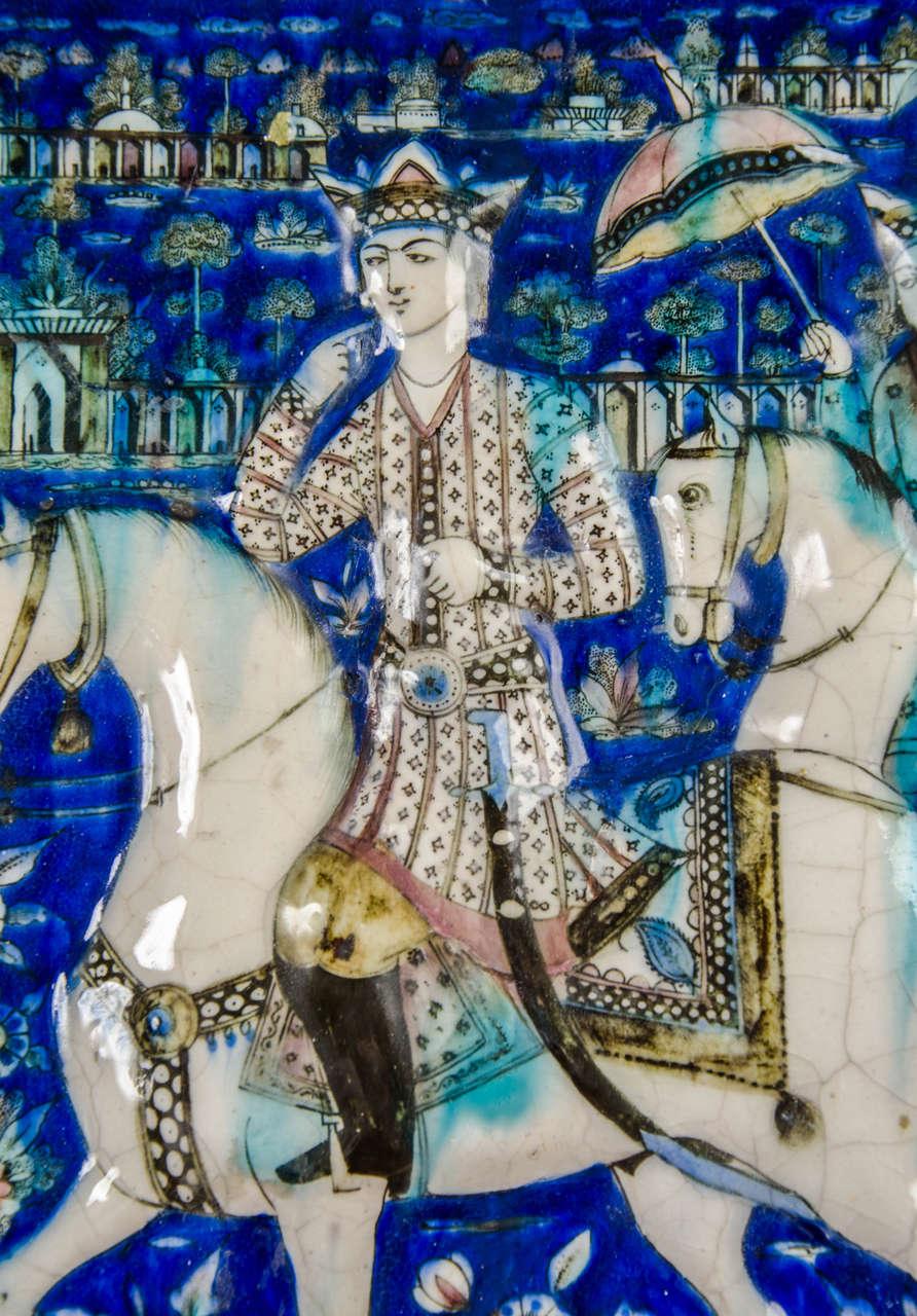 19th Century Large Persian Qajar Tile Picture Plaque Depicting Khusrau Visiting Shirin For Sale